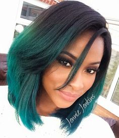 Jennie Jenkins black hair turquoise green ombre hairstyle bob haircut