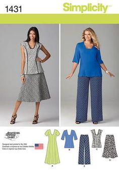 Simplicity Creative Group - Misses' and Miss Plus Dress or Tunic, Pants and Skirt. Love view A!