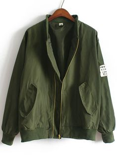 Shop Army Green Stand Collar Pockets Loose Jacket online. SheIn offers Army Green Stand Collar Pockets Loose Jacket & more to fit your fashionable needs.