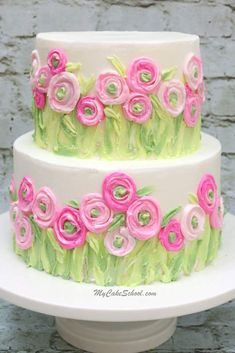 Ranunculus Fields Cake - Painting with Buttercream Cake Decorating Video Tutorial . - Ranunculus Fields Cake – Painting with Buttercream Cake Decorating Video Tutorial …. Creative Cake Decorating, Cake Decorating Videos, Cake Decorating Techniques, Creative Cakes, Cookie Decorating, Cake Decorating Amazing, Decorating Ideas, Cute Cakes, Pretty Cakes