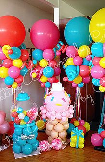 Balloon twisting entertainment and custom balloon decorations for parties and events. Located in Camarillo California and serving Candy Theme Birthday Party, Candy Party, Birthday Parties, Candy Land Theme, Balloon Decorations Party, Party Decoration, Birthday Decorations, Balloon Ideas, Balloon Pillars