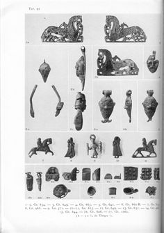 Various jewellry bits with human and horse figures. From Birka I by Holger Arbman.