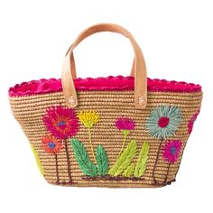 Natural Crochet Raffia Shopping Bag with Embroidered Flowers and Leather Handles - Rice A/S