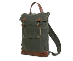Backpack in Olive Green Waxed Canvas | Jenny N. Design - Handmade Bags for Men and Women