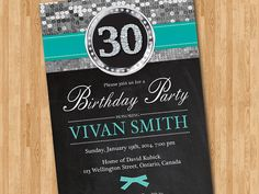 30th Birthday Invitation Glittle Silver. Printable adult birthday party for woman. 30th 40th 50th 60th any age. Any custom color. Printable....