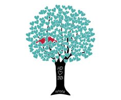Love Tree Personalized Art Print - Aqua #heart #pinparty #baby