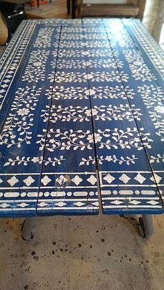 A blue DIY stenciled table using the Indian Inlay Stencil Kit. http://www.cuttingedgestencils.com/indian-inlay-stencil-furniture.html  #furniture #paint #stencils