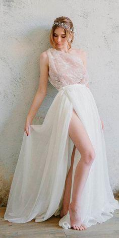 33 Absolutely Gorgeous Destination Wedding Dresses ❤ destination wedding dresses light straight one shoulder high slit irina guseva ❤ See more: http://www.weddingforward.com/destination-wedding-dresses/ #weddingforward #wedding #bride