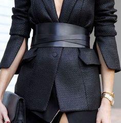 wide waist belt over blazer. style. all black.