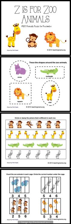 Z is for Zoo Animals! Free printable packet, identifying letter z tracing counting patterns finding differences tracing shapes identifying zoo animals Preschool Zoo Theme, Preschool Letters, Preschool Lessons, Preschool Learning, In Kindergarten, Preschool Activities, Kids Letters, Letter Activities, Safari Jungle