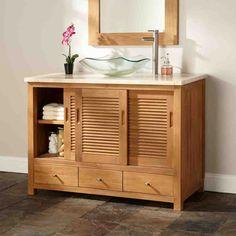 Teak Wooden Bathroom Vanity with Glass Vessel Sink Unfinished Bathroom Vanities, Teak Bathroom, Bathroom Sink Cabinets, Bathroom Furniture, Bathroom Storage, Kitchen Cabinets, Bathroom Ideas, Open Bathroom, Wood