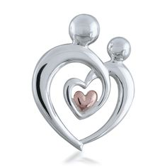 Sterling Silver 925 Mother /& Child Heart Pendant Jewels Obsession Mother /& Child Heart Pendant 22 mm