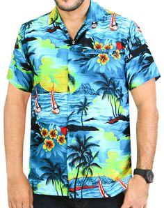 0915145ba43df9 Items similar to La Leela Casual Hawaiian Shirt For Men Short Sleeve  Front-Pocket Surf aloha Sun - 538 T_Blue on Etsy