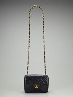 Vintage Black Quilted Lambskin Leather 2.55 Mini Flap Shoulder Crossbody Bag  by Chanel on http 67a75fcca628a