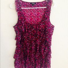 Floral Ruffled Tanktop - Express Pink/purple floral ruffled tank top, size medium. Perfect to dress up or down! Express Tops Tank Tops