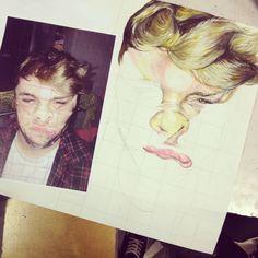 Cello tape drawing painting acrylic friend portrait face faces A-level art coursework manchester metropolitan soon fine art