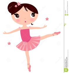 Printable Cute Ballerina Clip Art | Beautiful little ballerina girl. Vector cartoon Illustration.