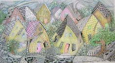 Enthusiastic Artist: Ten tangled houses. Visit blog, includes how-to for color, string & and closeups, wonderful by Margaret Bremmer CZT