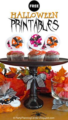"FREE ""Demented Bat"" Printable Halloween Cupcake Toppers with Matching FREE Treat Bag Tops, Banners, Wineglass Lampshade and Invitation 
