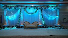 Simple yet Elegant. See the changes on the backdrop. LED does it really well Engagement Stage Decoration, Wedding Hall Decorations, Romantic Wedding Decor, Marriage Decoration, Wedding Ideas, House Decorations, Wedding Planning, Reception Stage Decor, Reception Backdrop