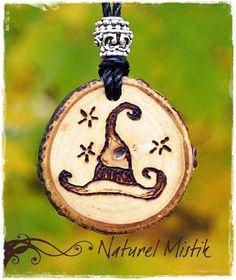 Woodburned Walnut Pendant Necklace. $18.00, via Etsy.