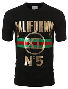 SMITHJAY Mens Hipster Hip-Hop Gold Graphic CALIFORNIA N5 Crew Tshirt - that should be mine!