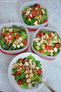 Save yourself some time with Healthy Meal Prep in Advance | Grilled Chicken Salad