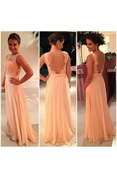A-line Bateau Floor Length Chiffon Prom Dress with Flower NAPD0009