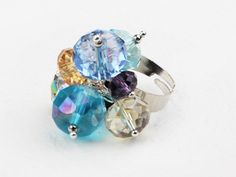 Assorted Multi Color Crystal Adjustable Ring at aypearl.com