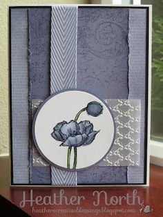 Copic and OWH sketch challenge card.  Stampin' UP! supplies: Simply Sketched, Very Vintage, Fancy Fan Embossing Folder and Wisteria Wonder Chevron Ribbon.