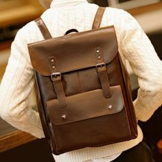 Retro PU Leather and Two Buckles Design Backpack For Men (COFFEE) in Backpacks | DressLily.com