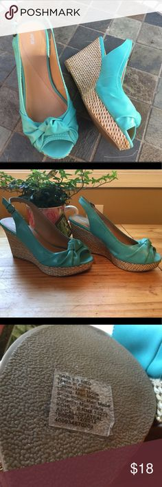 "Apt 9 Callisto Wedges ! Super Cute ! 💘 🍭 Apt 9 4"" wedges ! 1"" platform ! Worn once ! Great condition ! All man made ! From Kohls ! Open toe with knot detail ! Teal ! Great for summer for ant event ! Sling back ! 🦋 Apt.9 Shoes Wedges"