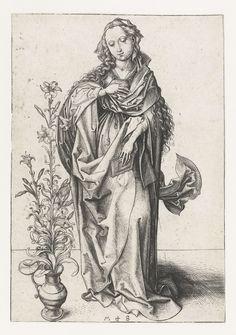 Martin Schongauer | De maagd Maria, Martin Schongauer, c. 1485 - c. 1490 | De Maagd Maria, een boek in de hand, staand naast een lelie in een vaas. Pendant van een prent van de engel Gabriël.