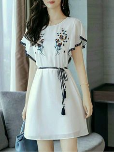 Fashionmia - Fashionmia Round Neck Embroidery Bowknot Chiffon Skater Dress Work outfits for dresses casual outfits classy fashions lovely 2019 fall dress outfits Korean Fashion Dress, Indian Fashion Dresses, Girls Fashion Clothes, Teen Fashion Outfits, Mode Outfits, Dress Outfits, Girl Fashion, Clothes Women, Korean Dress