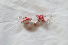 Polymer Clay Toadstool Mushroom Earrings | Etsy