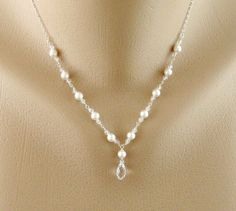 Bridal Jewelry, V Necklace, Wire wrapped Swarovski Pearls and Diamond Crystal…