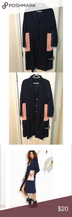 Navy Trench Coat Navy Blue coat with color block pockets that are light pink Jackets & Coats Trench Coats