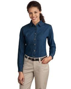 Port & Company Women's Long Sleeve Value Denim Shirt. LSP10 Port & Company. $15.99