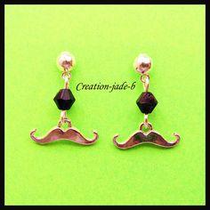 Boucles d'oreilles Puce Moustache Noir - Fantaisie