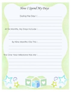"""Free Printable Baby Book Page, """"How I Spend My Days"""""""
