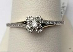 Yellow Gold Halo Cathedral Pave Vintage Round Diamond Engagement Promise Ring tw) by RG&D Heart Promise Rings, Bridal Rings, Wedding Ring, Gemstone Engagement Rings, Fashion Rings, Fashion Jewelry, Ring Designs, Diamond Rings, Round Diamonds