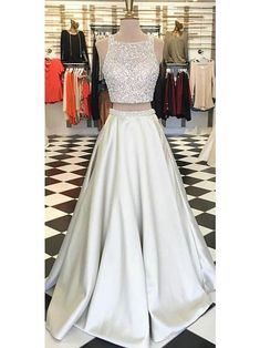 Prom Dress Champagne Sequins Two Pieces Prom Dress Evening Dress Party Dress F6552