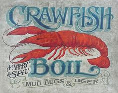 03a35ce27 Print: Crawfish Boil Print Seafood theme, beach house decor Louisana  mudbugs and beer. Great for a gift, bar decor. Cajun bayou front porch