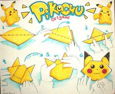 Adorable Origami Pokemon Instructions - http://www.ikuzoorigami.com/adorable-origami-pokemon-instructions/