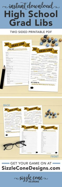 """Graduation Mad Libs - This """"instant download"""" printable high school graduation party game combines grammar, imagination, & real world advice. Sure to have guests of all ages giggling like giddy school children! And ready to print in just seconds."""