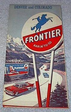 Frontier Refining Road Map Colorado Denver Street 1950