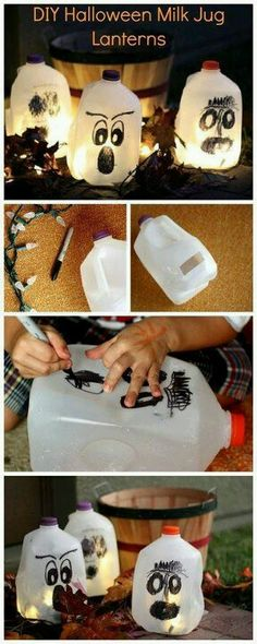 11 best halloween images on Pinterest Halloween diy, Halloween - halloween milk jug decorations