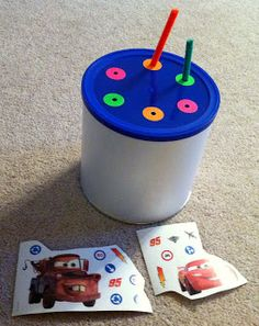 Testy yet trying: Car Ride Activities Set 1. Stickers to decorate can and pipe cleaners to thread through holes.