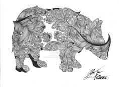 Rhinoceros Zentangle by ~KaterinaBelikova on deviantART