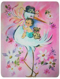 Vintag Baby card stork